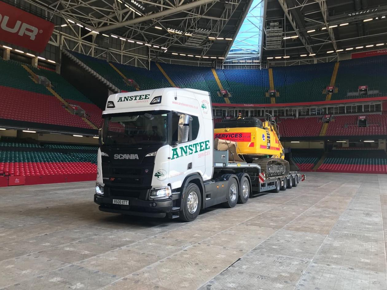 Above: Low loader delivery to the Principality Stadium, Cardiff